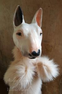 Mini-Bullterrier-Portrait-handmade-Valerie-Bayol tierportrait-hund-katze-handpuppe-marionette-bueste