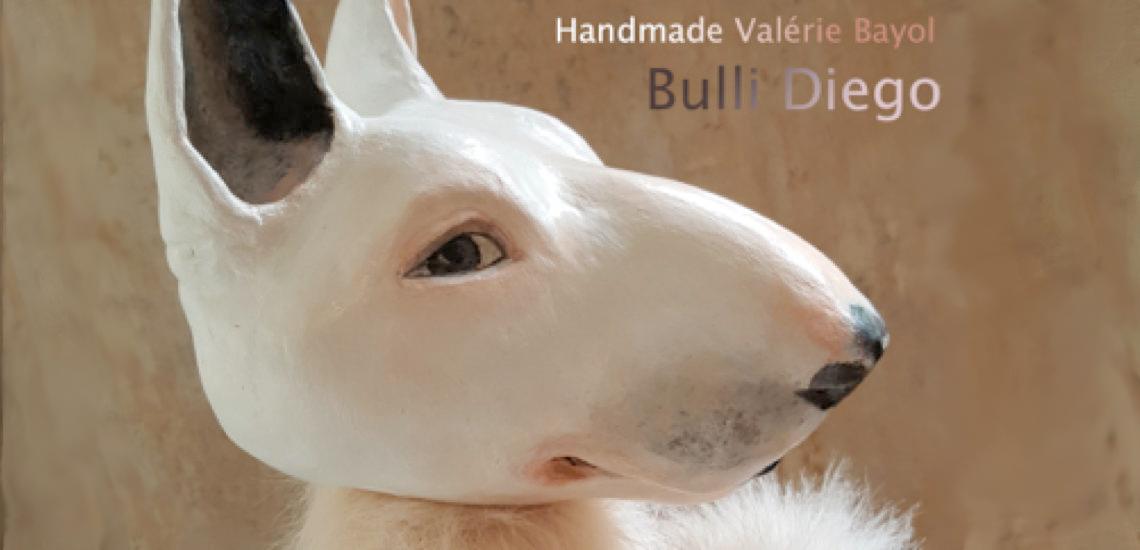 Hund-Bullterrier-Diabetiker-Warnhund-Valérie-Bayol-Porträt-Handpuppe
